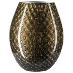Oval Vase Mocenigo, Muranese Glass, Gold 24-Karat and Black, Italy