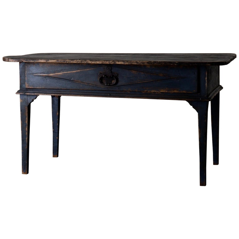 Table Swedish Black Blue, 19th Century, Sweden For Sale
