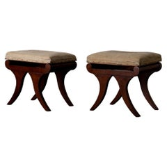 Stools Pair of Swedish Mahogany Empire, Sweden