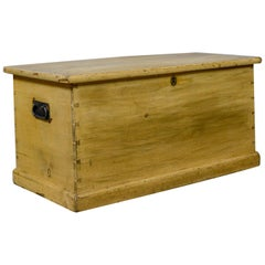 Antique Pine Trunk, Victorian, Blanket Chest, Box Early 20th Century, circa 1900