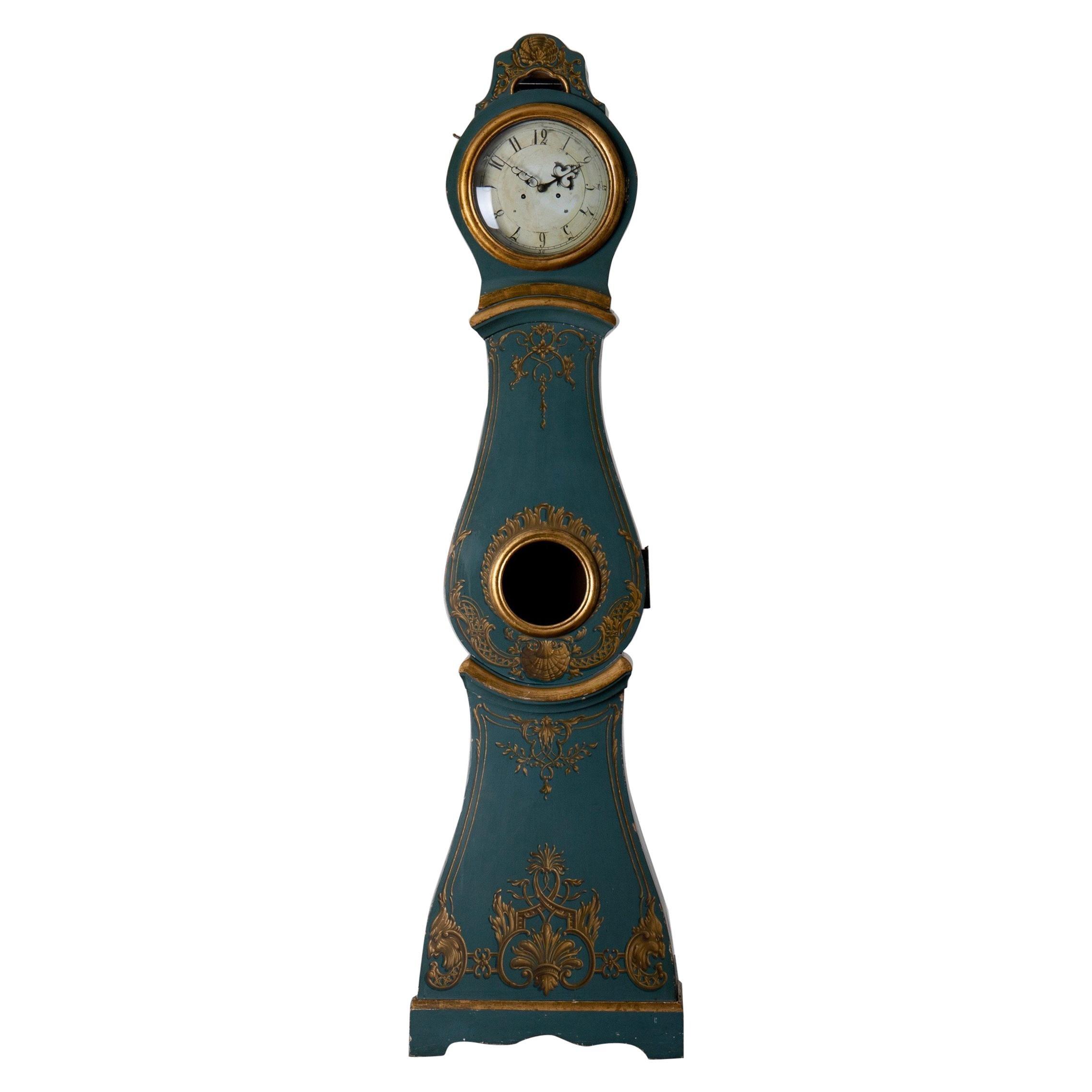 Grandfather Clock Swedish Rococo Green Blue Gilded 18th Century, Sweden