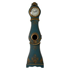Grandfather Clock Swedish Rococo Green Blue Gilded 18th Century, Sweden