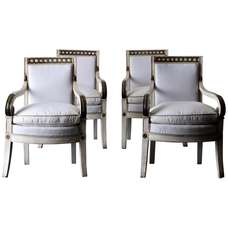 Armchairs Set of 4 French White Green Empire Chairs France For Sale