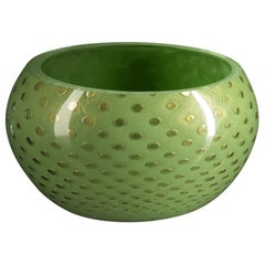 Bowl Mocenigo, Muranese Glass, Gold 24-Karat and Light Green, Italy