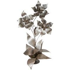 Skulpturale florale Standard Stehlampe aus Stahl