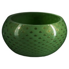 Bowl Mocenigo, Muranese Glass, Gold 24-Karat and Dark Green, Italy