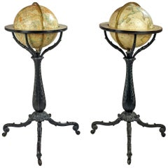 Pair of American Globes on Cast Iron Stands