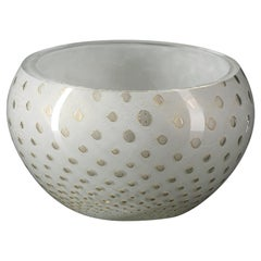 Bowl Mocenigo, Muranese Glass, Gold 24-Karat and White, Italy