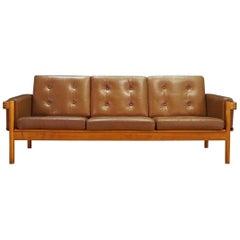 Dänisches Design Leder Sofa Vintage Jahrhundertmitte