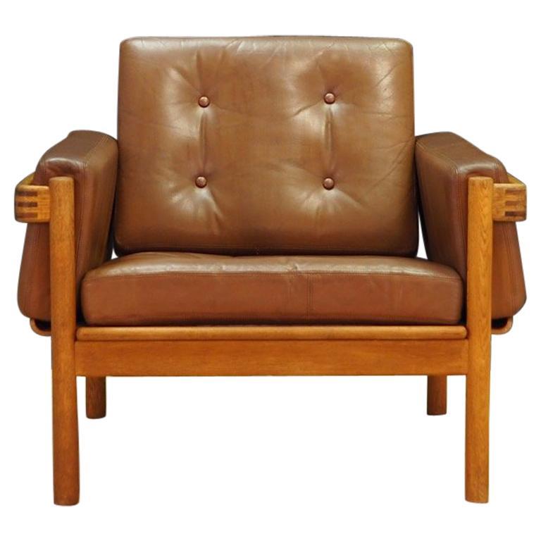 Armchair Leather Vintage Scandinavian Design For Sale