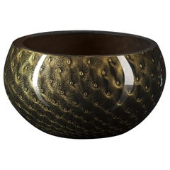 Bowl Mocenigo, Muranese Glass, Gold 24-Karat and Black, Italy