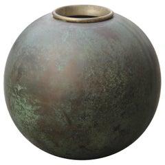 Brass Ball Vase Art Deco 1930 Italian Design Nino Ferrari Gio Ponti Attributed