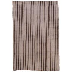 "Striped ""Jajim"" Rug in Brown and Ivory"