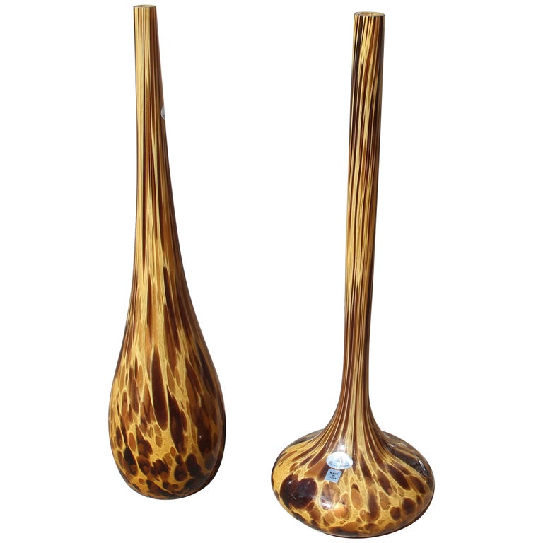 Large Bottles in Murano Glass Spotted Decoration Venturina Yellow Color Brown For Sale