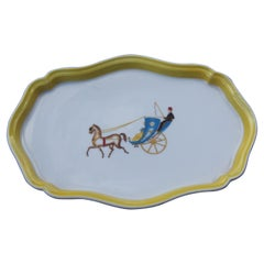 Tray Richard Ginori Italian Design Yellow with Decorations Typical of Gio Ponti