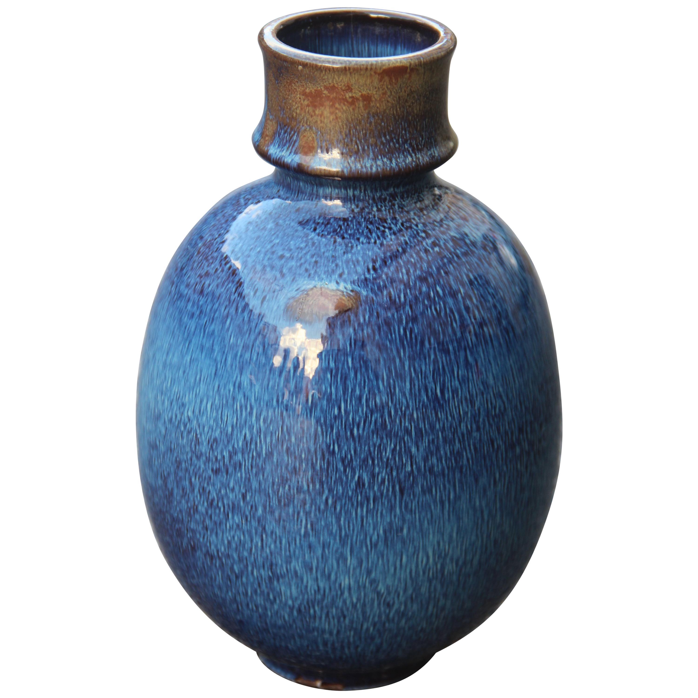 Round Vase Ceramic Blue Color Ernestine Italian Design, 1960s