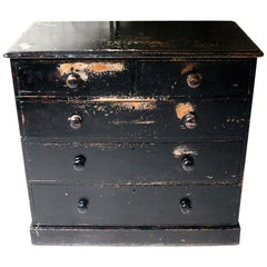 Victorian Black Painted Pine Chest of Drawers, circa 1870-1880