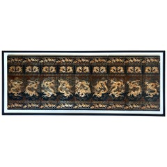 Set of 9 Hand Painted Lacquered Chinese Gold Dragon Wall Panels ON SALE