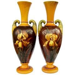 Pair of 19th Century Arts & Crafts Majolica Bretby Irises Vases