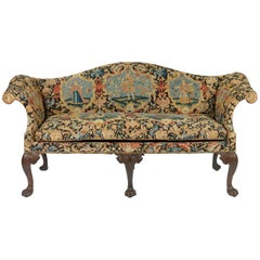 George II Mahogany Settee Upholstered in Needlework, circa 1740