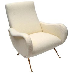 Pair of Italian Creamy White Bouclé Chairs with Brass Legs, circa 1950s