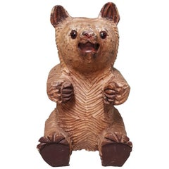 20th Century Black Forest Wooden Carved and Painted Sitting Bear