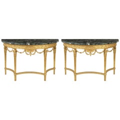 Fine Pair of George III Giltwood Marble Demilune Pier Tables