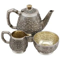 Antique Indian Silver Three-Piece Tea Service, circa 1895