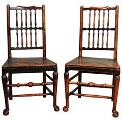 Pair of 18th Century Elm Spindle Back Chairs