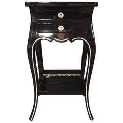 Black Lacquer Side Table with Svarowski Stones