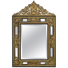 Louis XIV Style Ebonised and Gilt-Bronze Mounted Mirror, circa 1860