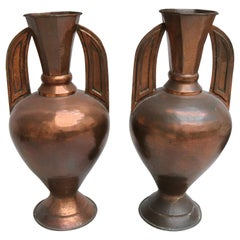 """1950 Pair of Spanish """"Alhambra"""" Style Copper Vases with Handles"""