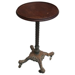 19th Century English Pedestal Side Table with Wooden Top and Cast Iron Foot Claw