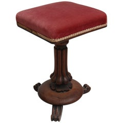 19th Century English Mahogany Claw Foot Pedestal Side Table with Red Velvet Top