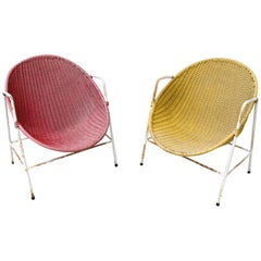 1950s Spanish Red and Yellow Handwoven Willow Wicker Armchairs with Iron Frame