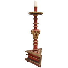 17th Century Large Spanish Gold Gilded and Red Painted Wooden Pricket Stick