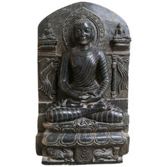 1980s Hand Carved Black Marble Buddha Sculpture