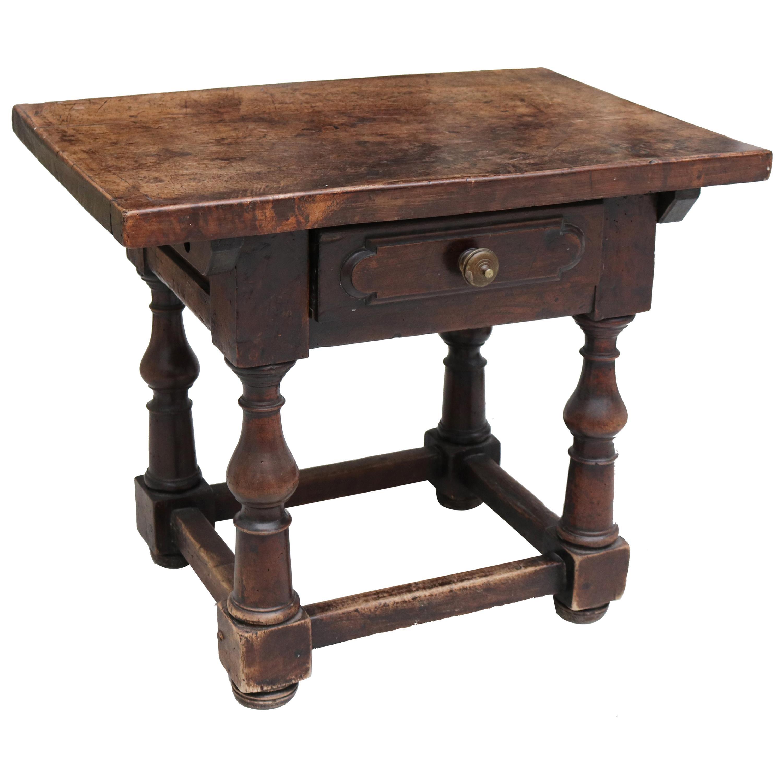 19th Century English Walnut One Drawer Side Table