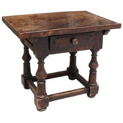 19th Century English Walnut One Drawer Side Table