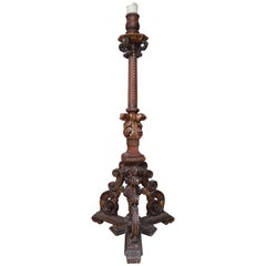 18th Century Large Spanish Gold Gilded Wooden Candle Pricket Stick