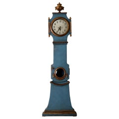 Grandfather Clock Swedish Neoclassical Blue Gold Sweden