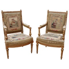 18th Century Pair of French Aubusson Armchairs with Gilded Wooden Frames