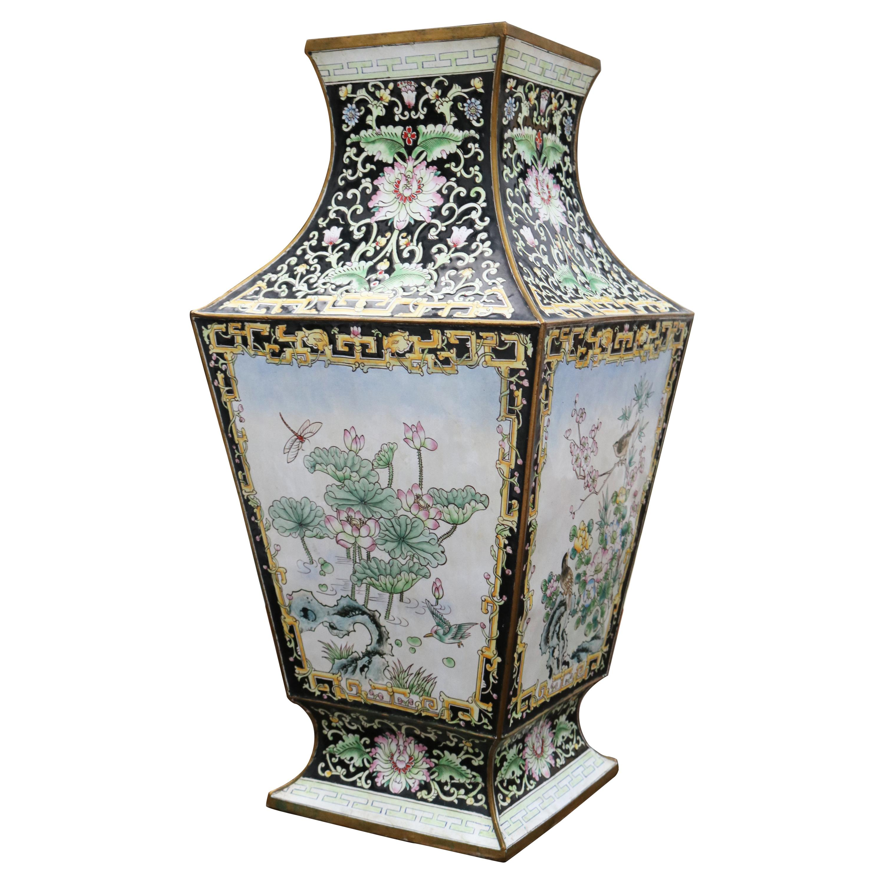 1970s Chinese Cloisonné Hand Painted Vase with Flower Motifs