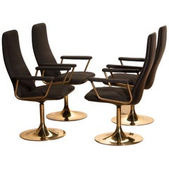 Four Golden, with Black Fabric, Armrest Swivel Chairs by Johanson Design, 1970