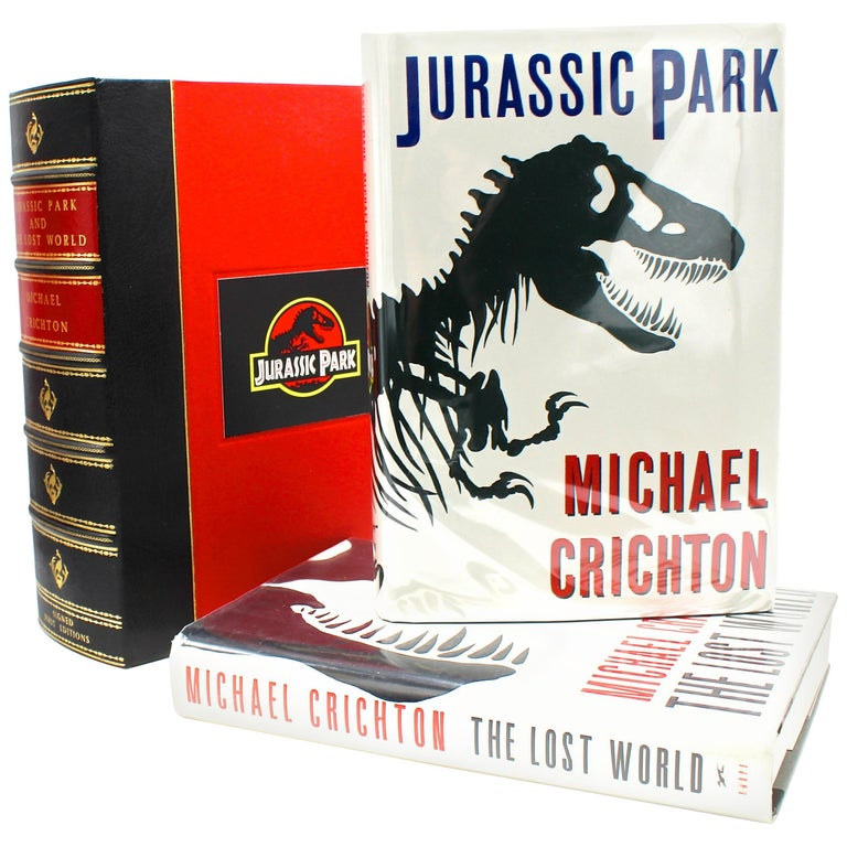 """Jurassic Park and The Lost World,"" First Editions, Signed by Michael Chrichton For Sale"