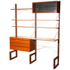 1960s, Poul Cadovius For Cado Teak With Golden Supports Bookcase / Desk