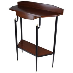 Italian Midcentury Mahogany Demilune Console Table, 1950s