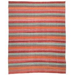 Zeitgenössischer, handgemachter flach gewebter Teppich, mehrfarbiges Linien-Design