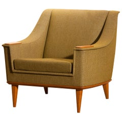 Green Upholstered Oak Lounge / Easy Chair by Folke Ohlsson for DUX, 1960, Sweden