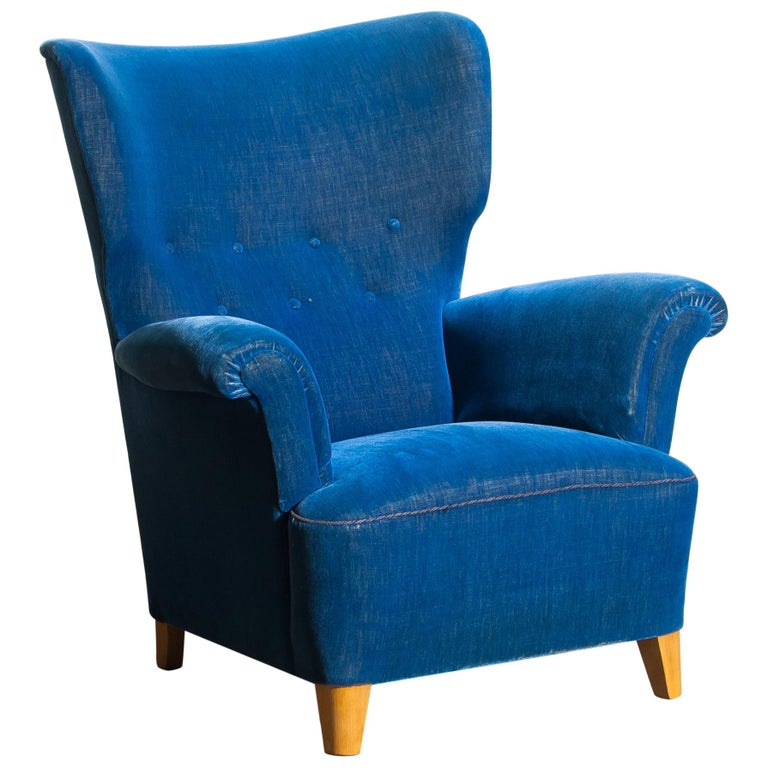 Scandinavian Royal Blue Velvet Wingback Chair 1930 1940 For Sale At